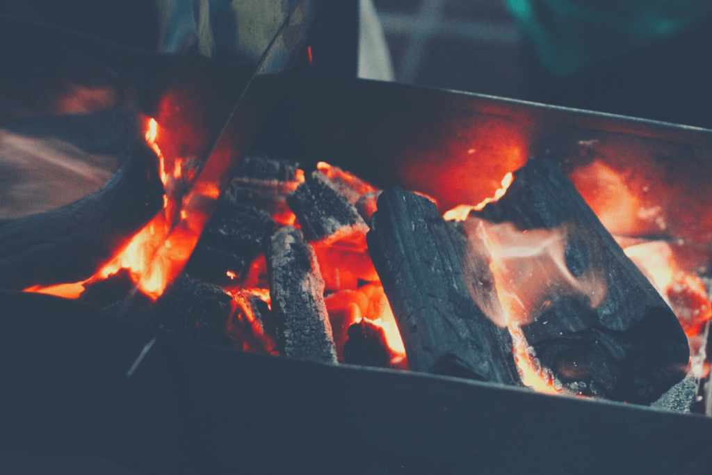 wood burning in a smoker