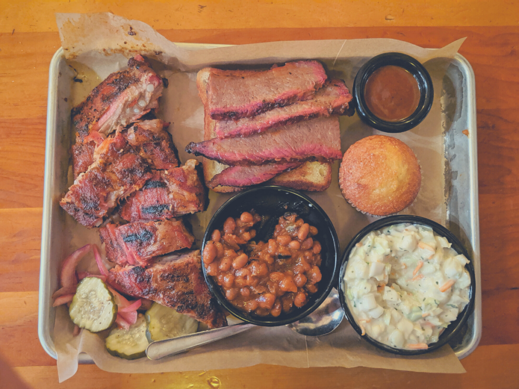 plate of smoked bbq and coleslaw