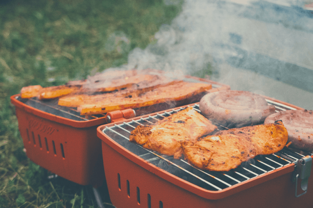 meat on a portable grill